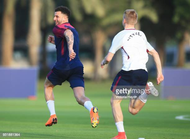 Oleksandr Zinchenko chases Kyle Walker of Manchester City during the Abu Dhabi Warm Weather Training Camp on March 13 2018 in Abu Dhabi United Arab...
