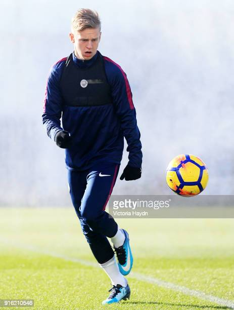 Oleksandr Zinchenko during training at Manchester City Football Academy on February 9 2018 in Manchester England