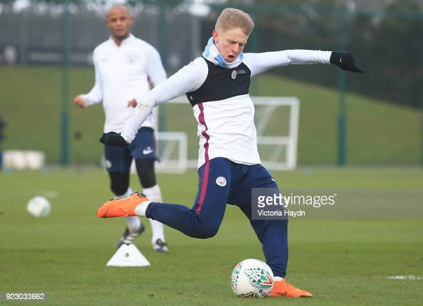 Oleksandr Zinchenko in action during training at Manchester City Football Academy on February 22 2018 in Manchester England