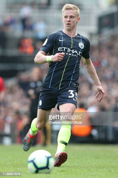 Oleksandr Zinchenko of Man City during the Premier League match between Fulham FC and Manchester City at Craven Cottage on March 30 2019 in London...
