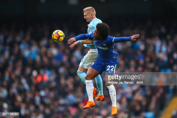 Oleksandr Zinchenko of Manchester City and Willian of Chelsea during the Premier League match between Manchester City and Chelsea at Etihad Stadium...