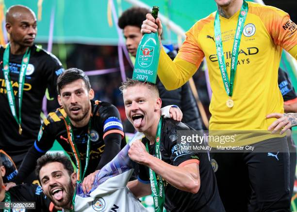 Oleksandr Zinchenko of Manchester City celebrates after the Carabao Cup Final between Aston Villa and Manchester City at Wembley Stadium on March 01...