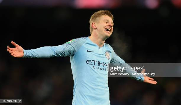 Oleksandr Zinchenko of Manchester City celebrates as he scores his team's fourth goal during the Carabao Cup Semi Final First Leg match between...