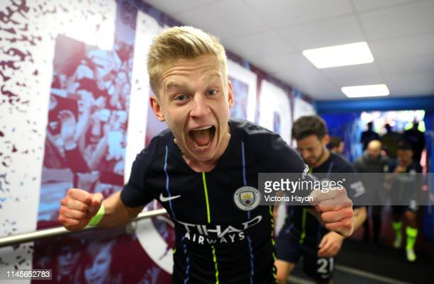 Oleksandr Zinchenko of Manchester City celebrates victory after the Premier League match between Burnley FC and Manchester City at Turf Moor on April...