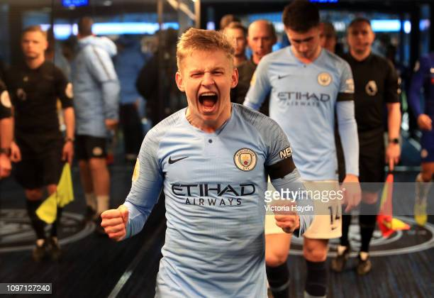 Oleksandr Zinchenko of Manchester City celebrates victory in the tunnel after the Premier League match between Manchester City and Chelsea FC at...