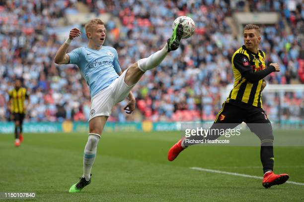 Oleksandr Zinchenko of Manchester City controls the ball during the FA Cup Final match between Manchester City and Watford at Wembley Stadium on May...