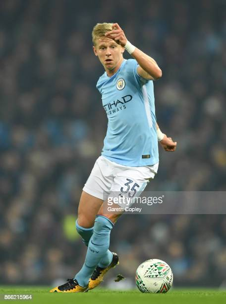 Oleksandr Zinchenko of Manchester City during the Carabao Cup Fourth Round match between Manchester City and Wolverhampton Wanderers at Etihad...