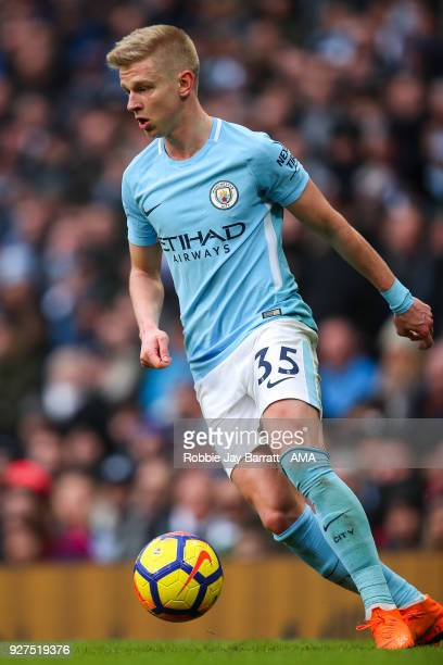Oleksandr Zinchenko of Manchester City during the Premier League match between Manchester City and Chelsea at Etihad Stadium on March 4 2018 in...