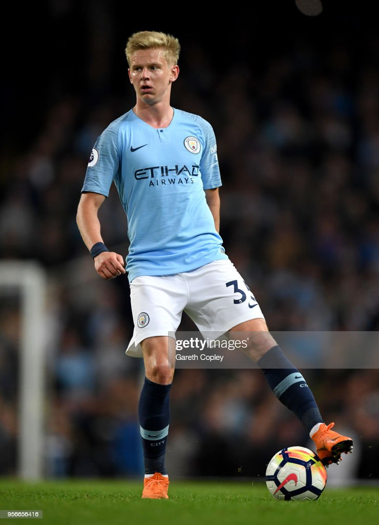 Oleksandr Zinchenko of Manchester City during the Premier League match between Manchester City and Brighton and Hove Albion at Etihad Stadium on May 9, 2018 in Manchester, England.