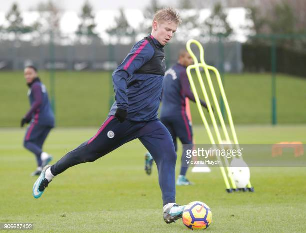 Oleksandr Zinchenko of Manchester City during the training session at Manchester City Football Academy on January 18 2018 in Manchester England
