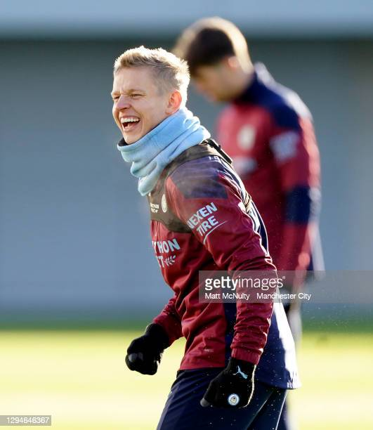 Oleksandr Zinchenko of Manchester City in action during a training session at Manchester City Football Academy on January 05, 2021 in Manchester,...