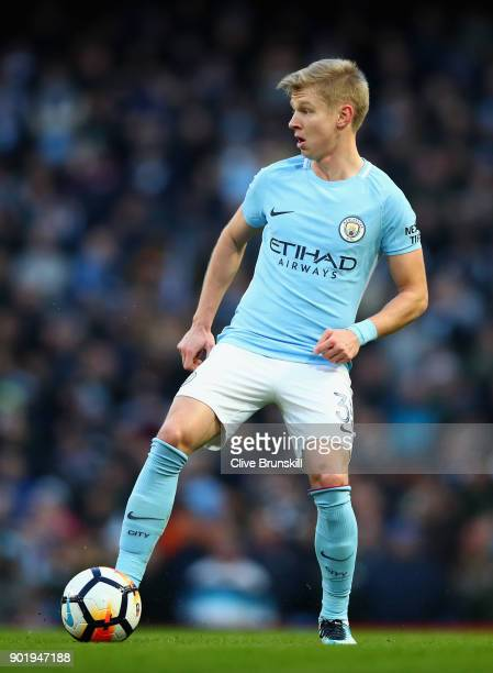 Oleksandr Zinchenko of Manchester City in action during The Emirates FA Cup Third Round match between Manchester City and Burnley at Etihad Stadium...