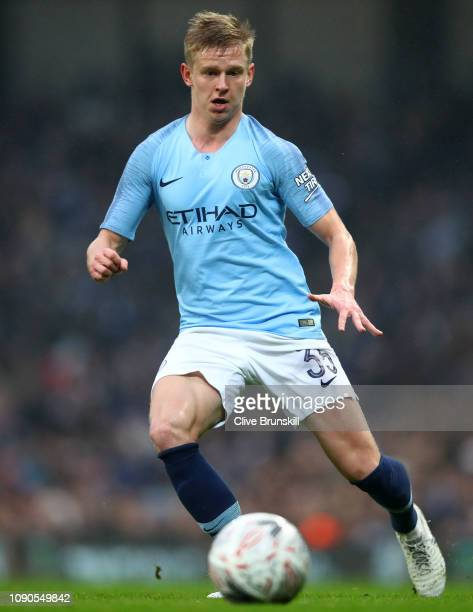 Oleksandr Zinchenko of Manchester City in action during the FA Cup Third Round match between Manchester City and Rotherham United at Etihad Stadium...