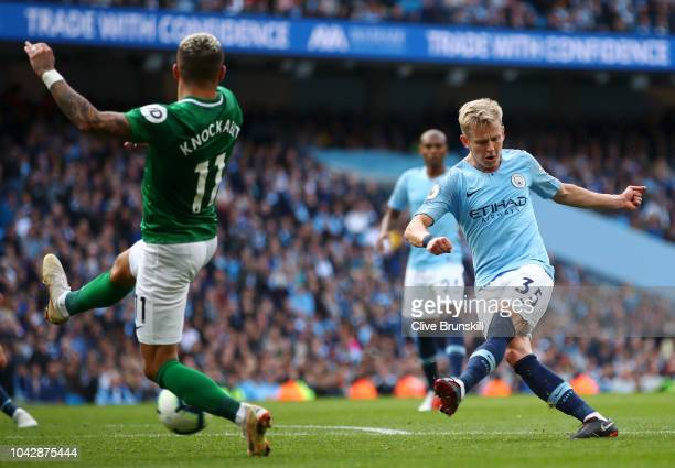 Oleksandr Zinchenko of Manchester City in action during the Premier League match between Manchester City and Brighton Hove Albion at Etihad Stadium...