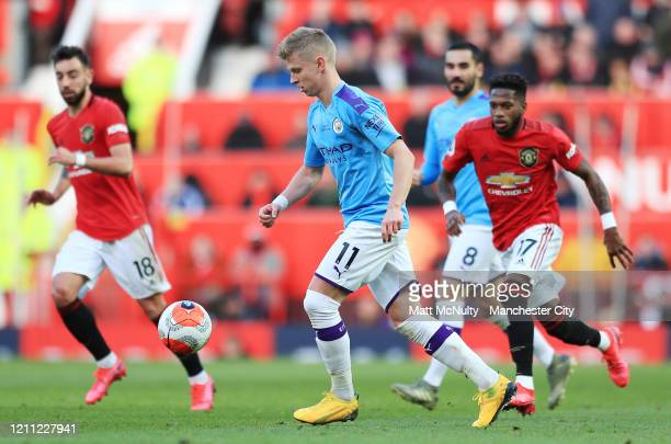 Oleksandr Zinchenko of Manchester City in action during the Premier League match between Manchester United and Manchester City at Old Trafford on...