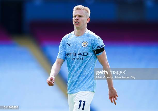 Oleksandr Zinchenko of Manchester City in action during the Premier League match between Manchester City and Leeds United at Etihad Stadium on April...