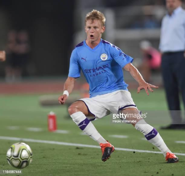 Oleksandr Zinchenko of Manchester City in action during the preseason friendly match between Yokohama FMarinos and Manchester City at Nissan Stadium...