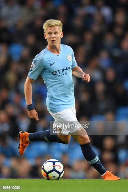Oleksandr Zinchenko of Manchester City in actoin during the Premier League match between Manchester City and Brighton and Hove Albion at Etihad...
