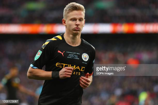 Oleksandr Zinchenko of Manchester City is seen during the Carabao Cup Final match between Aston Villa and Manchester City at Wembley Stadium