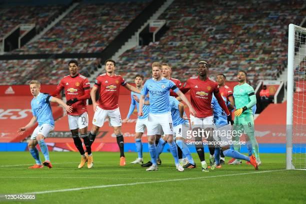 Oleksandr Zinchenko of Manchester City, Marcus Rashford and Harry Maguire of Man Utd, Kevin de Bruyne of Manchester City, Paul Pogba of Man Utd and...