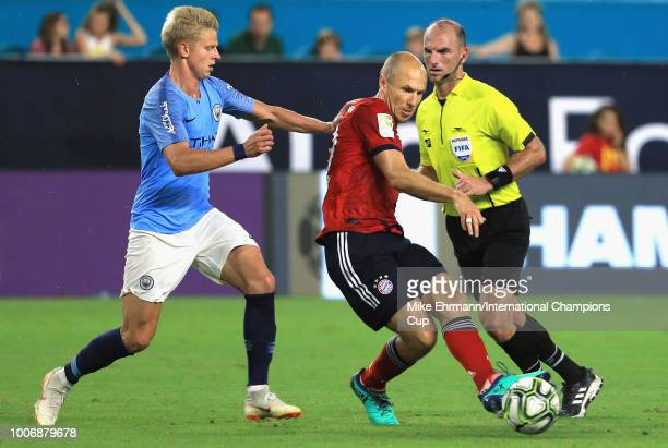 Oleksandr Zinchenko of Manchester City pressures Arjen Robben of FC Bayern Munich during the second half of the International Champions Cup 2018...