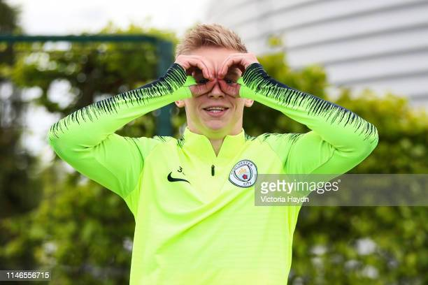 Oleksandr Zinchenko of Manchester City reacts during a training session at Manchester City Football Academy on May 02 2019 in Manchester England