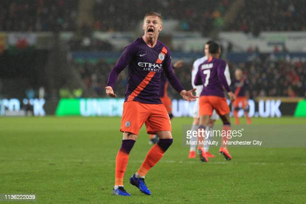 Oleksandr Zinchenko of Manchester City reacts during the FA Cup Quarter Final match between Swansea City and Manchester City at Liberty Stadium on...