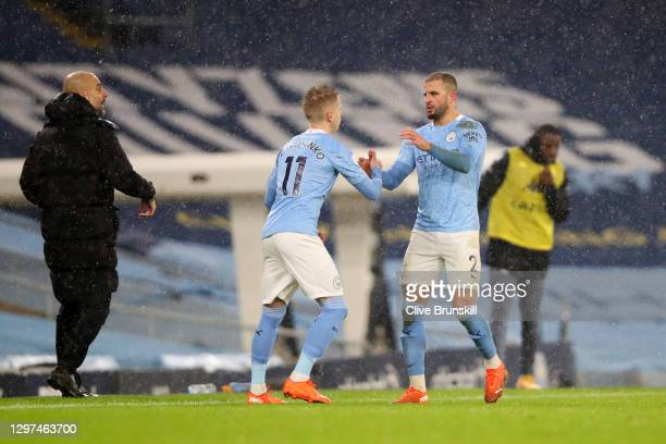 Oleksandr Zinchenko of Manchester City replaces the injured Kyle Walker of Manchester City during the Premier League match between Manchester City...
