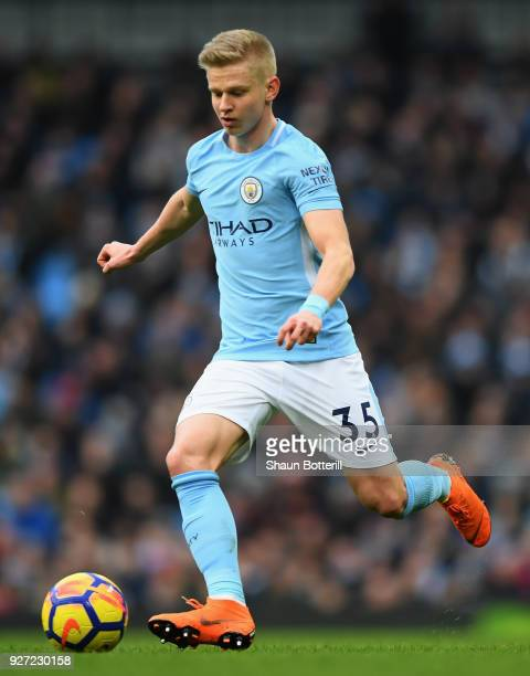 Oleksandr Zinchenko of Manchester City runs with the ball during the Premier League match between Manchester City and Chelsea at Etihad Stadium on...