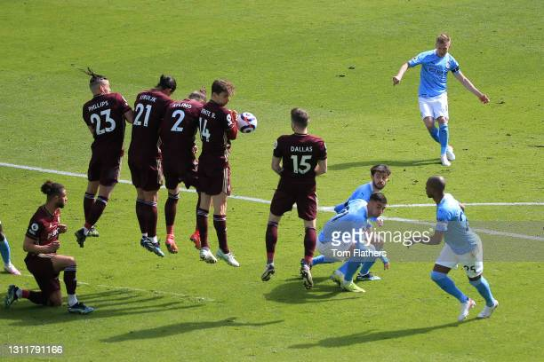 Oleksandr Zinchenko of Manchester City takes a free kick during the Premier League match between Manchester City and Leeds United at Etihad Stadium...