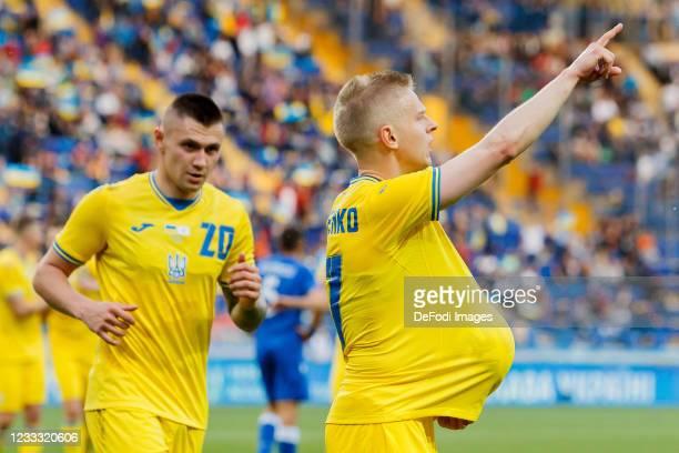Oleksandr Zinchenko of Ukraine celebrates after scoring his team's second goal during the international friendly match between Ukraine and Cyprus at...