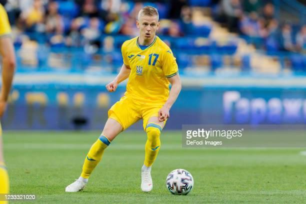 Oleksandr Zinchenko of Ukraine controls the ball during the international friendly match between Ukraine and Cyprus at Metalist Stadium on June 7,...