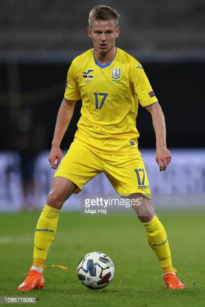 Oleksandr Zinchenko of Ukraine controls the ball during the UEFA Nations League group stage match between Germany and Ukraine at Red Bull Arena on...
