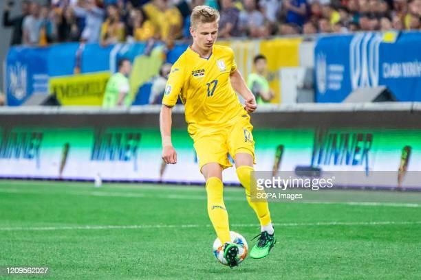 Oleksandr Zinchenko of Ukraine in action during the UEFA EURO 2020 Qualifiers match between Ukraine and Serbia at Arena Lviv. .