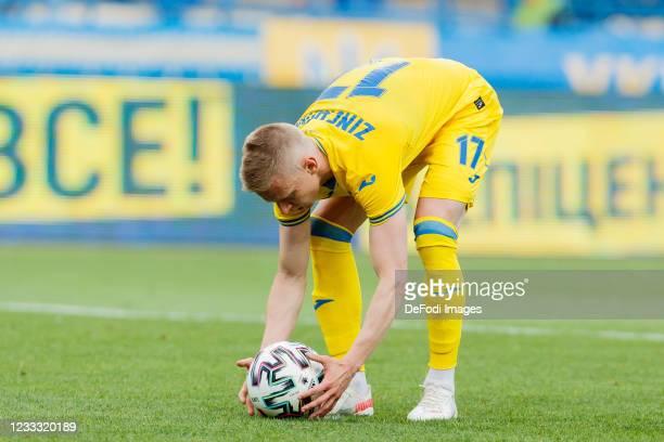 Oleksandr Zinchenko of Ukraine looks on during the international friendly match between Ukraine and Cyprus at Metalist Stadium on June 7, 2021 in...