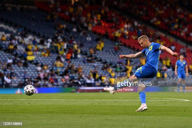 Oleksandr Zinchenko of Ukraine scores their side's first goal during the UEFA Euro 2020 Championship Round of 16 match between Sweden and Ukraine at...