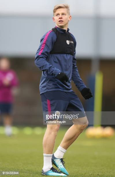 Oleksandr Zinchenko reacts during training at Manchester City Football Academy on February 7 2018 in Manchester England