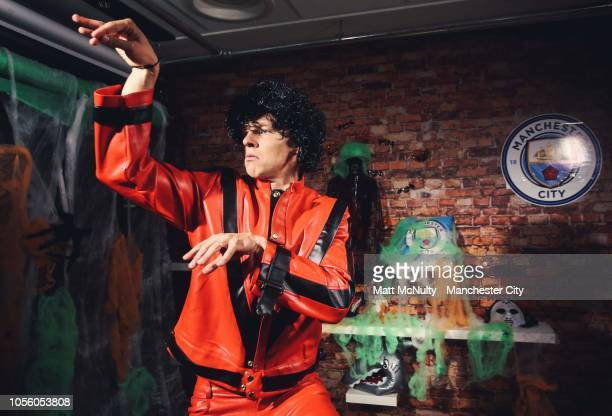 Oleksandr Zinchenko takes part in a Michael Jackson Thriller player appearance at Manchester City Football Academy on October 31 2018 in Manchester...
