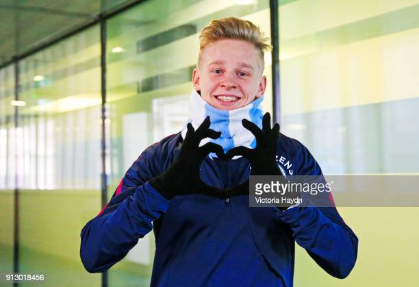 Oleksandr Zinchenko walks out to train at Manchester City Football Academy on February 1 2018 in Manchester England