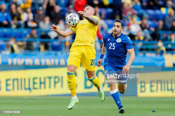 Oleksandr Zubkov of Ukraine controls the ball during the international friendly match between Ukraine and Cyprus at Metalist Stadium on June 7, 2021...