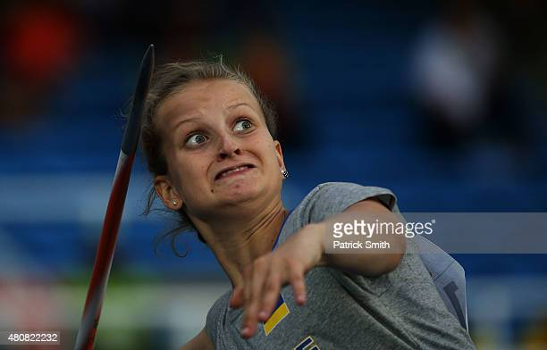 Oleksandra Zarytska of the Ukraine in action during qualification for the Girls Javelin Throw on day one of the IAAF World Youth Championships Cali...