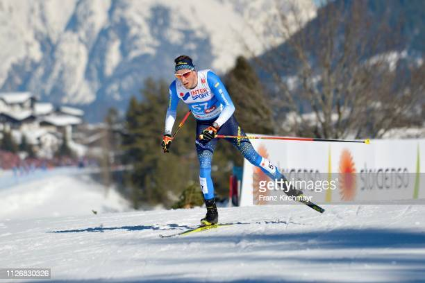 Oleksil Krasovskyi of Ukraine during the Men's Cross Country Skiathlon at the FIS Nordic World Ski Championships at Langlauf Arena Seefeld on...