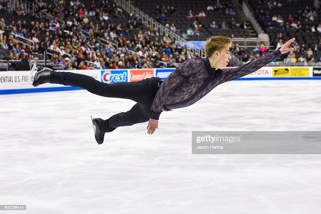 Oleksiy Meinyk completes a jump during his short program on Day 2 at the 2017 US Figure Skating Championships on January 20, 2017 at the Sprint Center in Kansas City, Missouri.