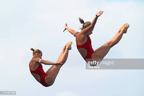 Olena Fedorova and Anna Pysmenska of the Ukraine compete in the Women's 3m Springboard Synchronised Diving final on day one of the 15th FINA World...