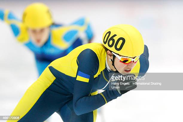Olena Korinchuk of Ukraine in action during the Ladies' 500m RRHeats on day two of the ISU World Short Track Speed Skating Championships at the...
