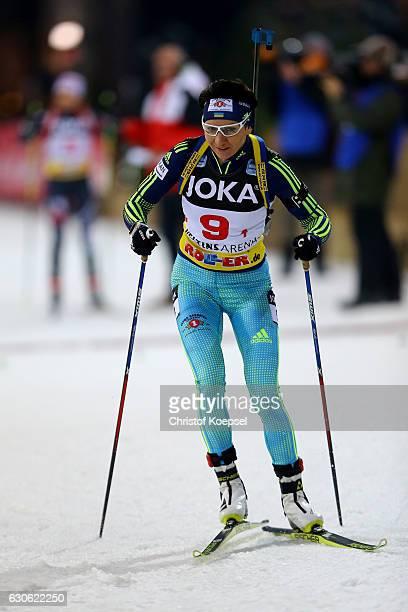 Olena Pidhruschna of Ukriane skates during the JOKA Biathlon World Team Challenge 2016 at VeltinsArena on December 28 2016 in Gelsenkirchen Germany