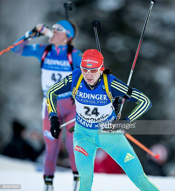Olena Pidhrushna of UKR in action during the Women's 25 km individual Biathlon race at the IBU Biathlon World Cup Ruhpolding on January 14 2016 in...
