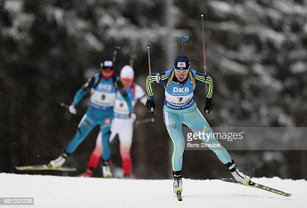 Olena Pidhrushna of Ukraine competes during the 10 km women's Pursuit on January 7 2017 in Oberhof Germany