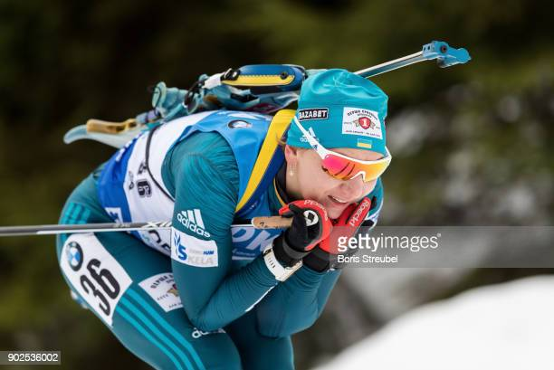 Olena Pidhrushna of Ukraine competes during the 75 km IBU World Cup Biathlon Oberhof women's Sprint on January 4 2018 in Oberhof Germany