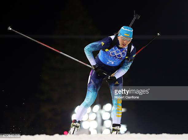 Olena Pidhrushna of Ukraine competes during the Biathlon Women's 4 x 6 km Relay on day 14 of the Sochi 2014 Winter Olympics at Laura Crosscountry Ski...